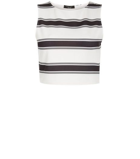Petite Black Stripe Sleeveless Crop Top | New Look