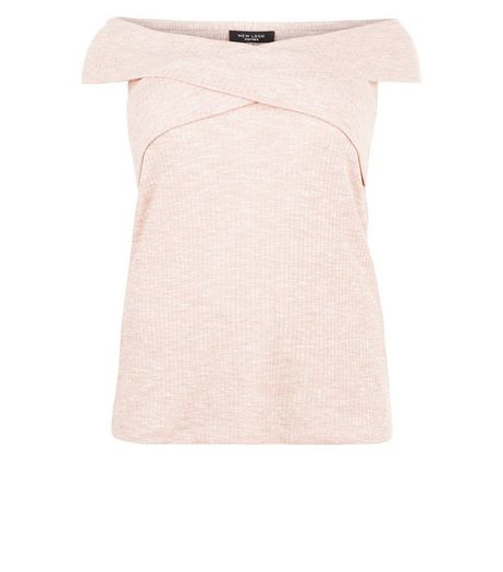 Curves Pink Wrap Bardot Neck Top | New Look