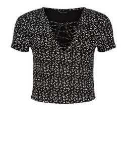 Black Ditsy Floral Print Lace Up Crop Top  | New Look