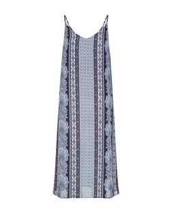 Blue Abstract Print Slip Dress  | New Look