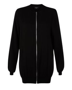 Tall Black Longline Bomber Jacket | New Look