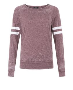 Burgundy Burnout Stripe Long Sleeve Top  | New Look