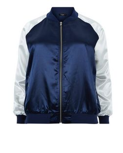 Curves Blue Colour Block Sateen Bomber Jacket | New Look
