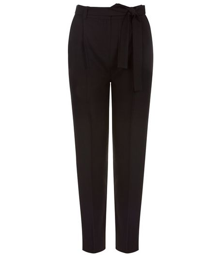 Tall Black Belted Trousers  | New Look