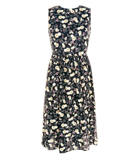 Black Floral Print Lace Up Back Midi Dress  | New Look