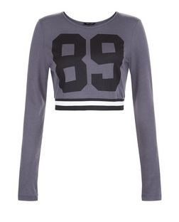 Dark Grey 89 Tape Hem Long Sleeve Crop Top  | New Look