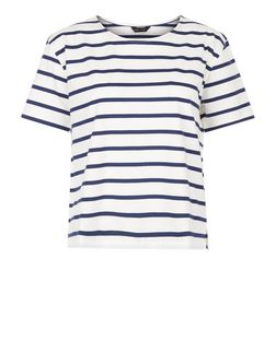Blue Stripe Boxy T-Shirt  | New Look