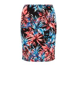 Plus Size Black Tropical Print Skirt | New Look