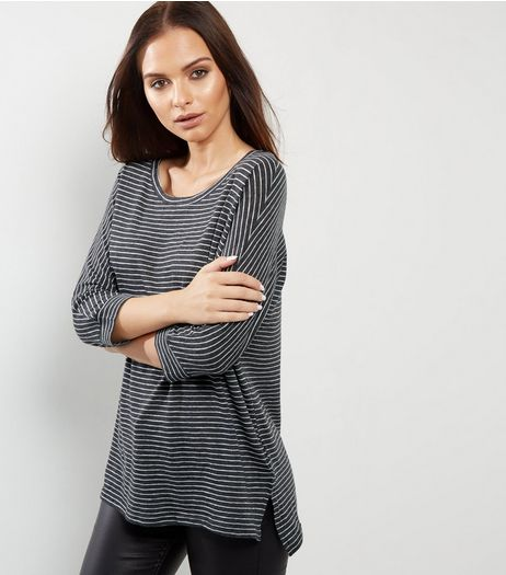 Dark Grey Stripe Batwing Sleeve Top  | New Look