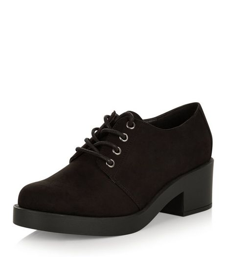 Wide Fit Black Suedette Block Heel Brogues | New Look