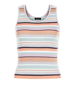 Multicoloured Ribbed Stripe Vest  | New Look