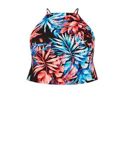 Plus Size Black Tropical Print Cami | New Look
