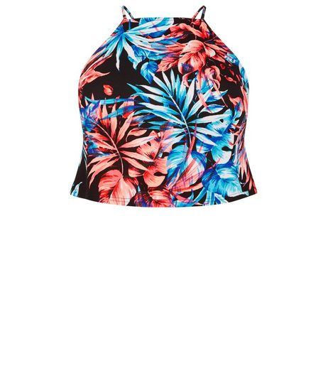 Curves Black Tropical Print Cami | New Look