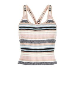 Pink Ribbed Stripe Cross Back Vest  | New Look