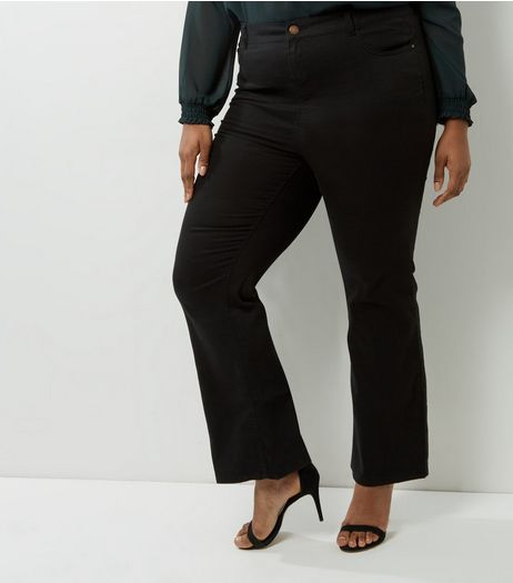 Curves Black Bootcut Trousers | New Look