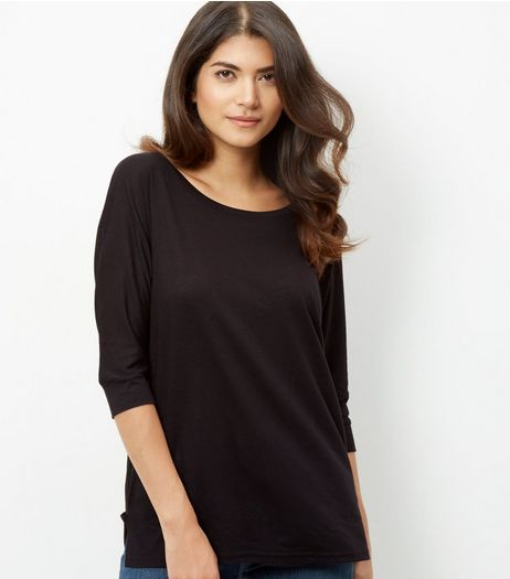 Black Batwing 1/2 Sleeve Top | New Look