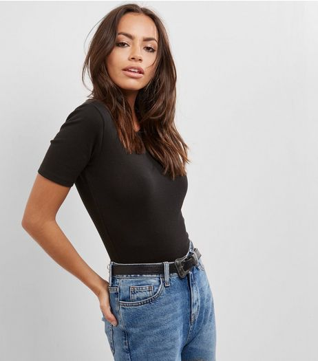 Black Ribbed T-Shirt  | New Look