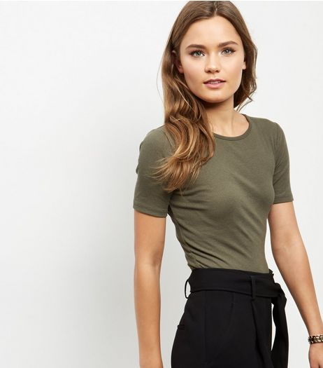 Olive Green Ribbed T-Shirt  | New Look