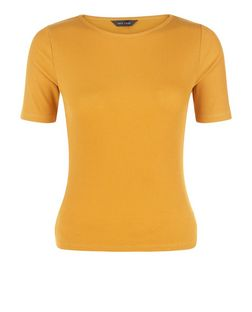Mustard Ribbed T-Shirt  | New Look