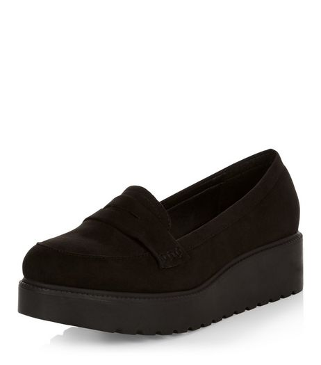 Wide Fit Black Suedette Creeper Shoes | New Look