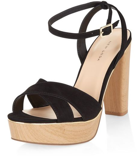 Black Suedette Metal Trim Platform Heeled Sandals  | New Look