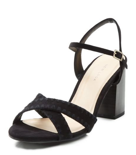 Black Suedette Woven Cross Strap Heeled Sandals  | New Look