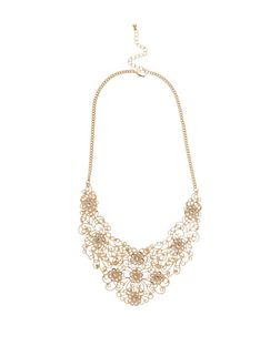 Gold Filigree Stone Bib Necklace | New Look