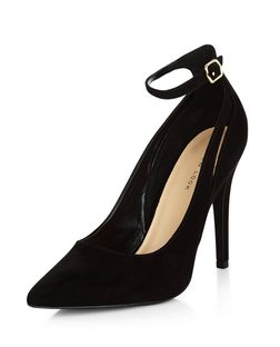 Black Suedette Cut Out Ankle Strap Pointed Heels  | New Look