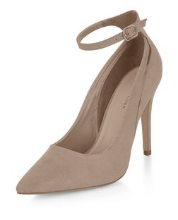 Light Brown Suedette Cut Out Ankle Strap Pointed Heels | New Look