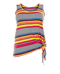 Curves Multicoloured Stripe Tie Side Vest | New Look