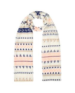 White Aztec Print Longline Scarf | New Look
