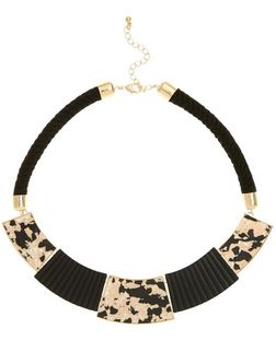 Black Shell Panel Rope Necklace | New Look