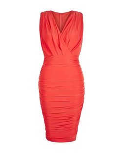 AX Paris Coral Ruched Wrap Dress | New Look