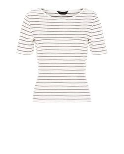 Red Stripe Ribbed T-Shirt | New Look