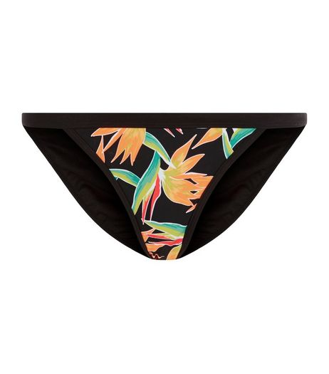 Black Tropical Print Strappy Side Bikini Bottoms | New Look