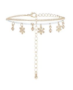 Gold Layered Flower Anklet | New Look