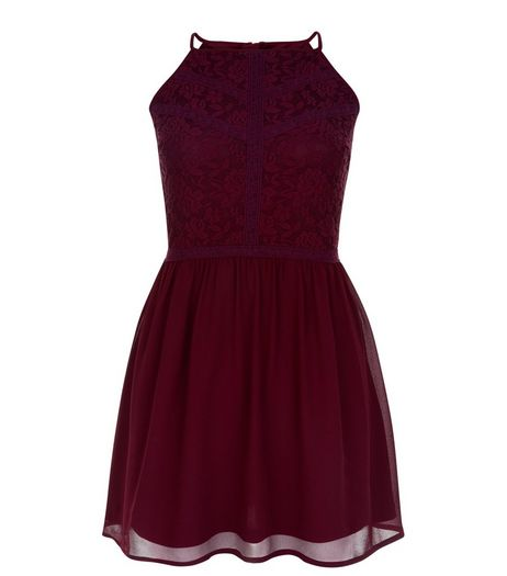 Teens Burgundy Floral Print Lace Panel Dress | New Look