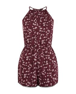 Teens Red Floral Print Playsuit | New Look