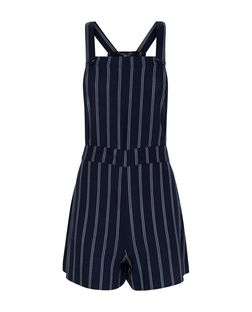 Teens Navy Pinstripe Pinafore Playsuit | New Look