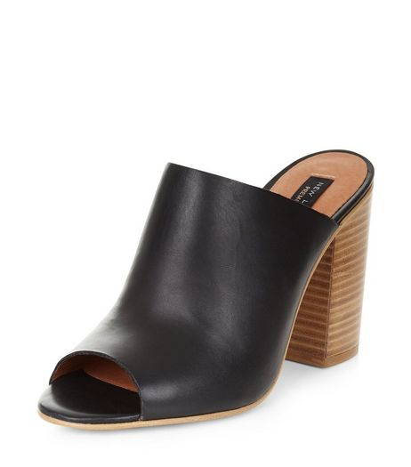 Black Premium Leather Peeptoe Mules  | New Look