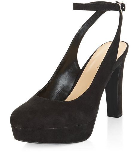 Black Ankle Strap Sling Back Platform Heels  | New Look