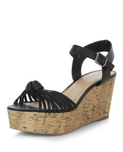 Black Strappy Knotted Flatform Sandals  | New Look