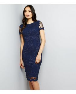 AX Paris Navy Crochet Lace Midi Dress | New Look