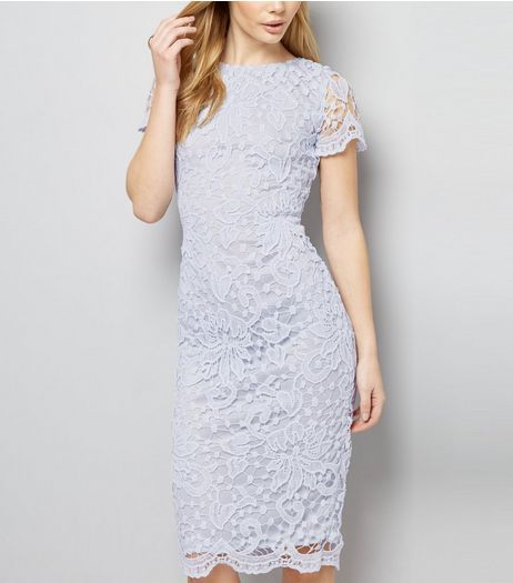 AX Paris Pale Blue Crochet Lace Midi Dress  | New Look