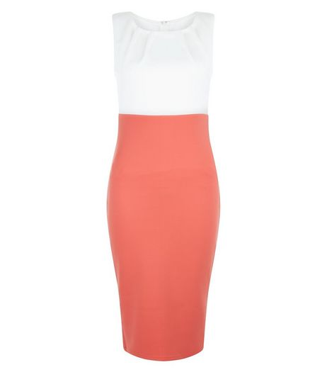 AX Paris Coral Contrast Midi Dress | New Look