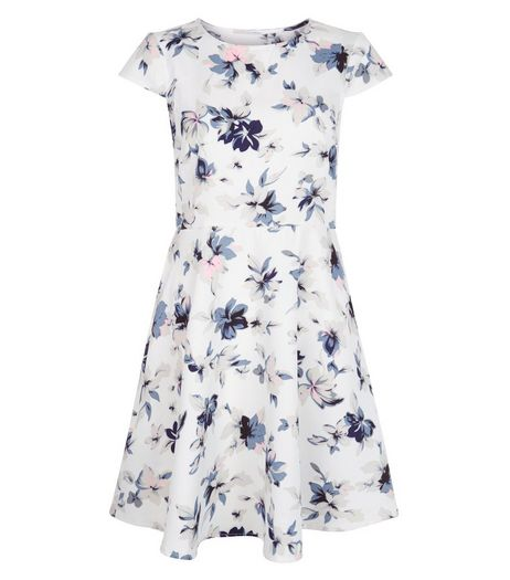 Blue Vanilla Cream Floral Print Cap Sleeve Dress | New Look