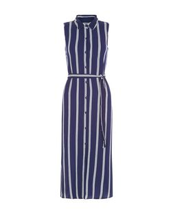 Blue Vanilla Navy Stripe Shirt Dress | New Look