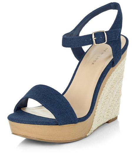Navy Denim Ankle Strap Espadrille Wedges  | New Look