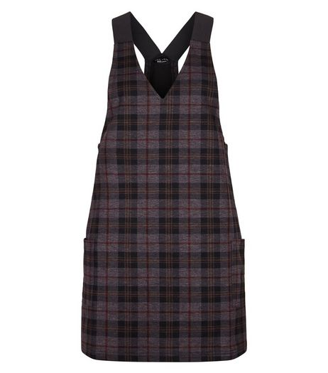 Teens Grey Check Pinafore Dress | New Look