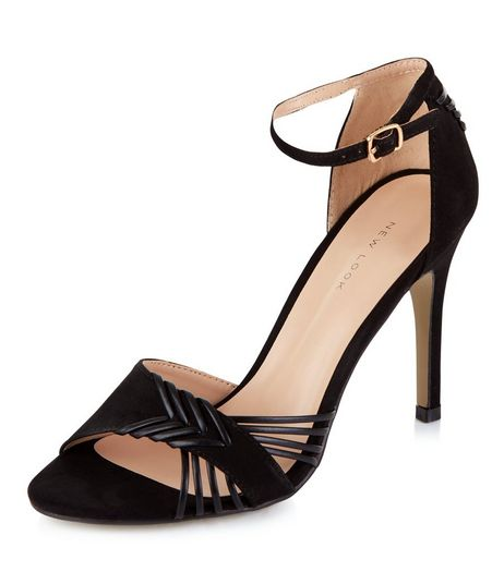 Black Suedette Stitch Strap Ankle Strap Heels  | New Look